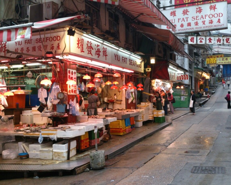 Fresh seafood stall in Sheung Wan, Hong Kong Island side
